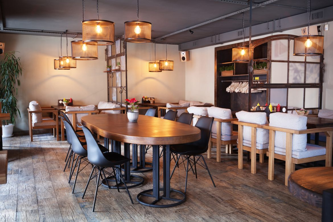 Contract Cleaning UK - This is Modern european cafe interior in downtown. Professional Contract Cleaners in London