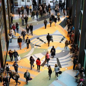 Photo of People in the shopping center Alexa in the city center of Berlin. The shopping center is very popular with tourists and residents of Berlin - Mind The Mall Germs: Top Five Bacteria Laden Spots - Purgo Cleaning Services UK