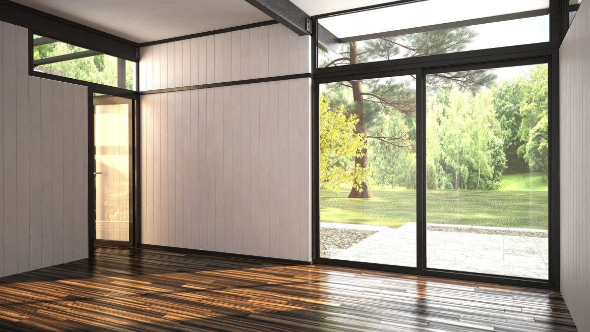 3D Rendering of Architectural background of a modern empty room with floor-to ceiling window overlooking a lush garden and outdoor patio with an interior glass door over a hardwood parquet floor - Holiday periods are a good opportunity for floor care and big cleaning Professional Contract Cleaners in London