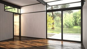 3D Rendering of Architectural background of a modern empty room with floor-to ceiling window overlooking a lush garden and outdoor patio with an interior glass door over a hardwood parquet floor - Handle With Care: How To Properly Clean Fragile Floors - Purgo Contract Cleaning UK