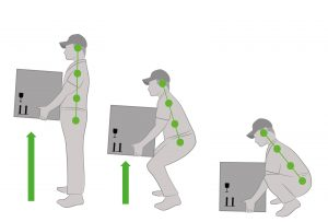 Correct posture to lift a heavy object safely. Illustration of health care. vector illustration. Contract Cleaning Services in London